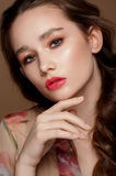 Magnificent portrait of a beautiful young woman with perfect skin closeup Royalty Free Stock Photography