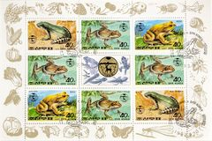 Magnificent postage stamps. View of a page of postage stamps with pictures of Frogs stock photo