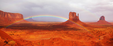 Magnificent Rainbow In Monuments Valley Stock Photos