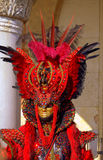 Magnificent red costume man Venice Stock Photos