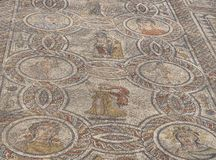 Artistic Roman Mosaics in Volubilis, Morocco royalty free stock photography