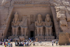 The magnificent ruins of the Great Temple of Rameses II at Abu Simbel in Egypt. Royalty Free Stock Image