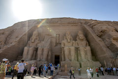 The magnificent ruins of the Great Temple of Rameses II at Abu Simbel in Egypt. Stock Photos