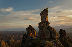 Magnificent sandstone rocks in Belogradchik, Bulgaria. Lit by sunset light Stock Photo