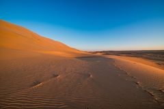 Magnificent sandy waves on dunes in desert. At hot and windy morning Stock Photos