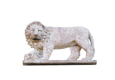 Magnificent sculpted lion on pink stone. Stock Photography