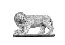 Magnificent sculpted lion on stone. Magnificent sculpted lion on stone of an historical european building, in Italy. Black and white, Isolated on background stock photos