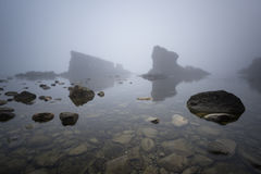 Magnificent seascape over the rock phenomenon The Ships, Sinemorets village, Bulgaria. Foggy weather. Royalty Free Stock Photo