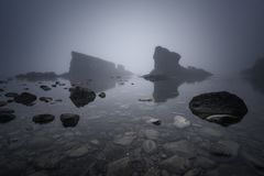 Magnificent seascape over the rock phenomenon The Ships, Sinemorets village, Bulgaria. Foggy weather. Royalty Free Stock Photos