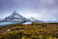 Magnificent snow-covered rocks on a sunny day. Beautiful Norway landscape. Lofoten islands. Royalty Free Stock Image