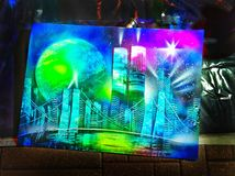 Magnificent spray art from Moscow. Night in the Moscow haves many surprises Stock Photos