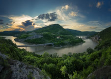 Magnificent spring sunset. Panoramic view of the rock phenomenon Wonderful rocks Bulgaria.  royalty free stock image
