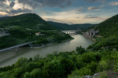 Magnificent spring sunset. Panoramic view of the rock phenomenon Wonderful rocks Bulgaria.  royalty free stock photos