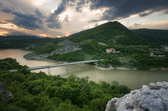Magnificent spring sunset. Panoramic view of the rock phenomenon Wonderful rocks Bulgaria.  stock photos