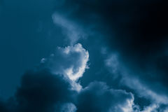 Magnificent storm clouds in the evening sky. High contrast dramatic scenery Royalty Free Stock Photography
