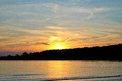 Magnificent summer sunset on the banks of the Volga River. stock images