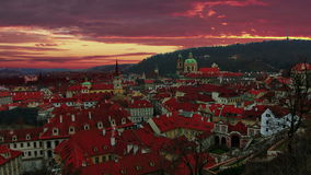 Magnificent sunrise in Prague. Old Town. - Czech republic. Timelapse stock video