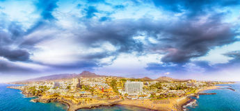 Magnificent sunset aerial view of Playa de Las Americas. beach a Stock Images