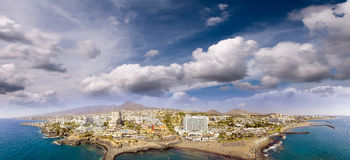 Magnificent sunset aerial view of Playa de Las Americas. beach a Stock Image