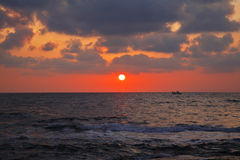 Magnificent sunset on coast Stock Photography