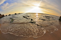 Magnificent sunset on coast of sea Stock Images