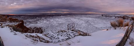 Winter sunset on the top of canyon in Utah USA. Magnificent sunset on the top of canyon top of the Moki Dugway. Infinity prairie extend to the horizon fully Stock Photography