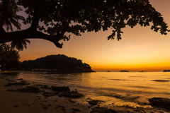 Magnificent sunset on the tropical island. Royalty Free Stock Photography