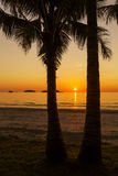 Magnificent sunset on the tropical island. Royalty Free Stock Image