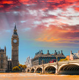 Magnificent sunset view of Houses of Parliament - London Stock Photo
