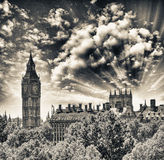 Magnificent sunset view of Houses of Parliament - London Royalty Free Stock Photo