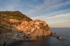 Magnificent sunset view of the Manarola village. Manarola is one of the five famous villages in Cinque Terre Five lands National Stock Photography