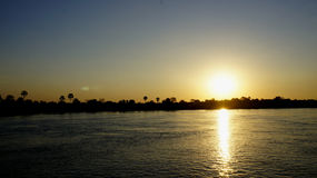 Magnificent sunset on the   Zambezi river. Sun and palms trees Royalty Free Stock Photos