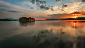 Magnificent sunset at Zhrebchevo Dam, Bulgaria Royalty Free Stock Images