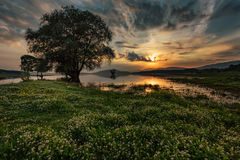 Magnificent sunset at Zhrebchevo Dam, Bulgaria Royalty Free Stock Photo