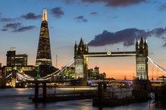 Magnificent view of Tower Bridge, the Shard and the River Thames. Magnificent  of Tower Bridge, the Shard and the River Thames at night, London, Uk Royalty Free Stock Photography