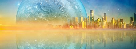 Magnificent tranquil waters at sunset on Mornington Peninsula. Fantasy landscape modern megapolis skyline and huge alien planet reflecting in tranquil waters at royalty free stock photo