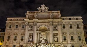 Magnificent Trevi Fountain in central Rome , Italy royalty free stock photography
