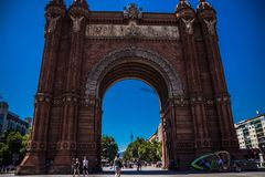 Magnificent triumphal arch on sunny day royalty free stock photography