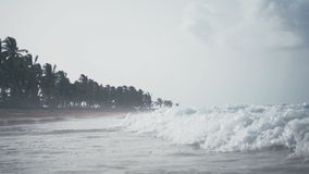 A magnificent tropical beach washed by waves. In the daytime stock video