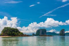 Magnificent tropical seascape on a sunny day in Thailand resort. Of Krabi royalty free stock photos