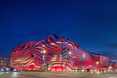Magnificent Twilight Exterior of Petersen Automotive Museum royalty free stock image