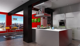 Magnificent urban designer kitchen Stock Images
