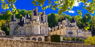 Magnificent Usse castle - famous castles of Loure valley, france Royalty Free Stock Image