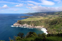 Magnificent view of the Atlantic Ocean and the steep coast of the island of San Miguel. Royalty Free Stock Images