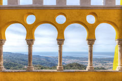 Magnificent view from the balcony of the castle Pena.  Portugal. Stock Photos