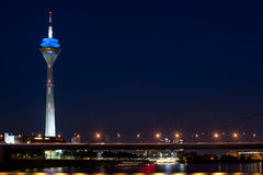 Magnificent view of black night Dusseldorf Royalty Free Stock Images