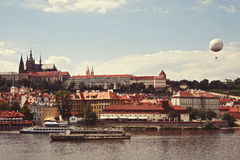 The magnificent view from the Charles Bridge to Mala Strana Stock Photography