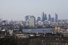 The magnificent view from the Greenwich Observatory taking in sights such as Docklands and City in London. Royalty Free Stock Photo