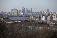 The magnificent view from the Greenwich Observatory taking in sights such as Docklands and City in London. Stock Photography