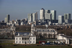 The magnificent view from the Greenwich Observatory taking in sights such as Docklands and City in London. Royalty Free Stock Photography